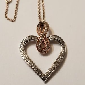Jewelry - SAI 925 Sterling Silver Diamond Heart Necklace